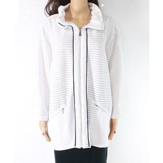 Sportelle Women's Jacket White Size 3X Plus Full Zip Contrast Trim