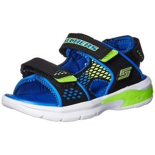 Skechers Boys' 90558L Open Toe Sandals, Black (Black/Blue/Lime), 12 M Us