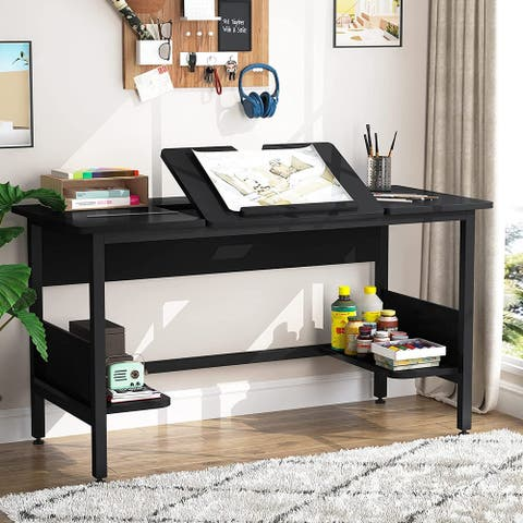 55 Inch Computer Desk with Storage Shelves, Simple Writing Study Drawing Desk Drafting Table with Tiltable Board for Home Office