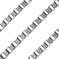 Antiqued Silver Plated Bulk Chain, 4x3mm Venetian Box Links, Sold By The Foot