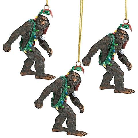 Design Toscano Bigfoot the Holiday Yeti with Santa Hat Funny Christmas Tree Ornament, 3 Inch, Set of Three