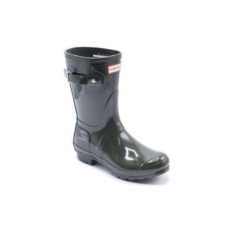 Hunter Womens Olive Original Short Gloss Rain Boots