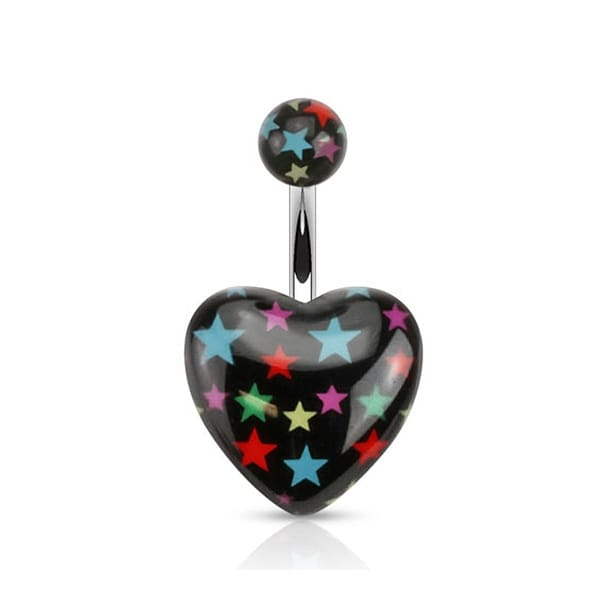 Multi-colored Star on Black Acrylic Heart Print 316L Surgical Steel Navel Belly Button Ring (Sold Ind.)