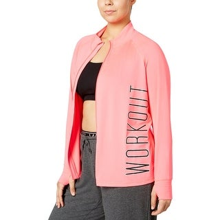 Material Girl Womens Plus Athletic Jacket Graphic Zip-Up