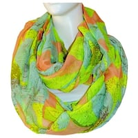 Women's Floral Lightweight Soft Infinity Loop Scarves - size:circumference 68 inches x 38 inches