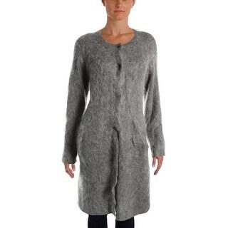 Eileen Fisher Womens Petites Alpaca Blend Snap Closure Sweatercoat