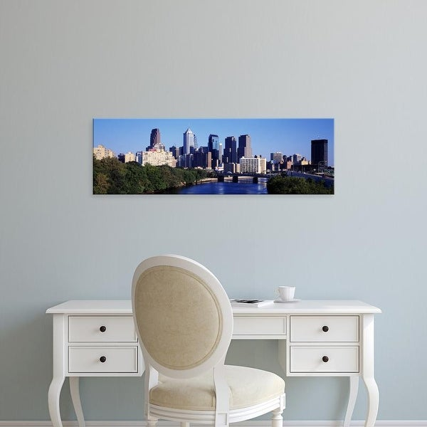 Easy Art Prints Panoramic Images's 'Delaware River, Philadelphia, Pennsylvania, USA' Premium Canvas Art