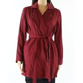 IMAN NEW Burgundy Red Womens Size Small S Long Belted Casual Coat