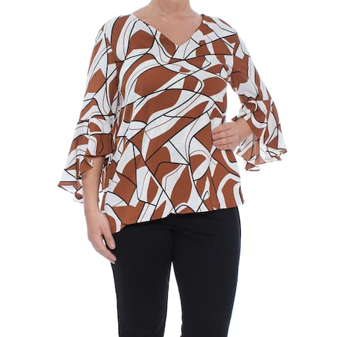 ALFANI Womens Brown Ruffle Sleeve V Neck Top Size: 8