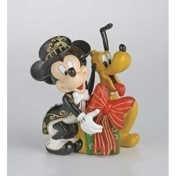 Lighted Cloisonne Mickey & Pluto With Gift Christmas Figure - multi