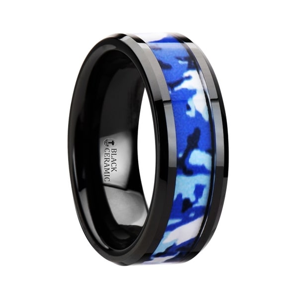 RECOIL Black Ceramic Ring with Blue and White Camouflage Inlay