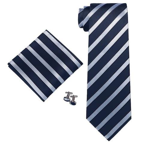 Men's Blue, White Stripes 3.25 Inch 100% Silk Neck Tie Set - 1820N - Regular