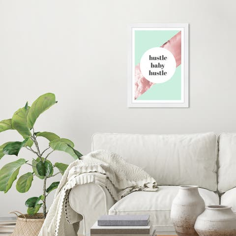 Wynwood Studio 'Hustle Baby' Typography and Quotes Green Wall Art Framed Print
