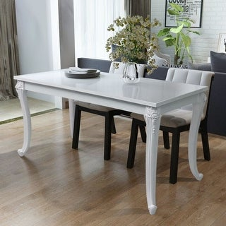 """Link to vidaXL Dining Table 31.5""""x31.5""""x30"""" High Gloss White Similar Items in Dining Room & Bar Furniture"""