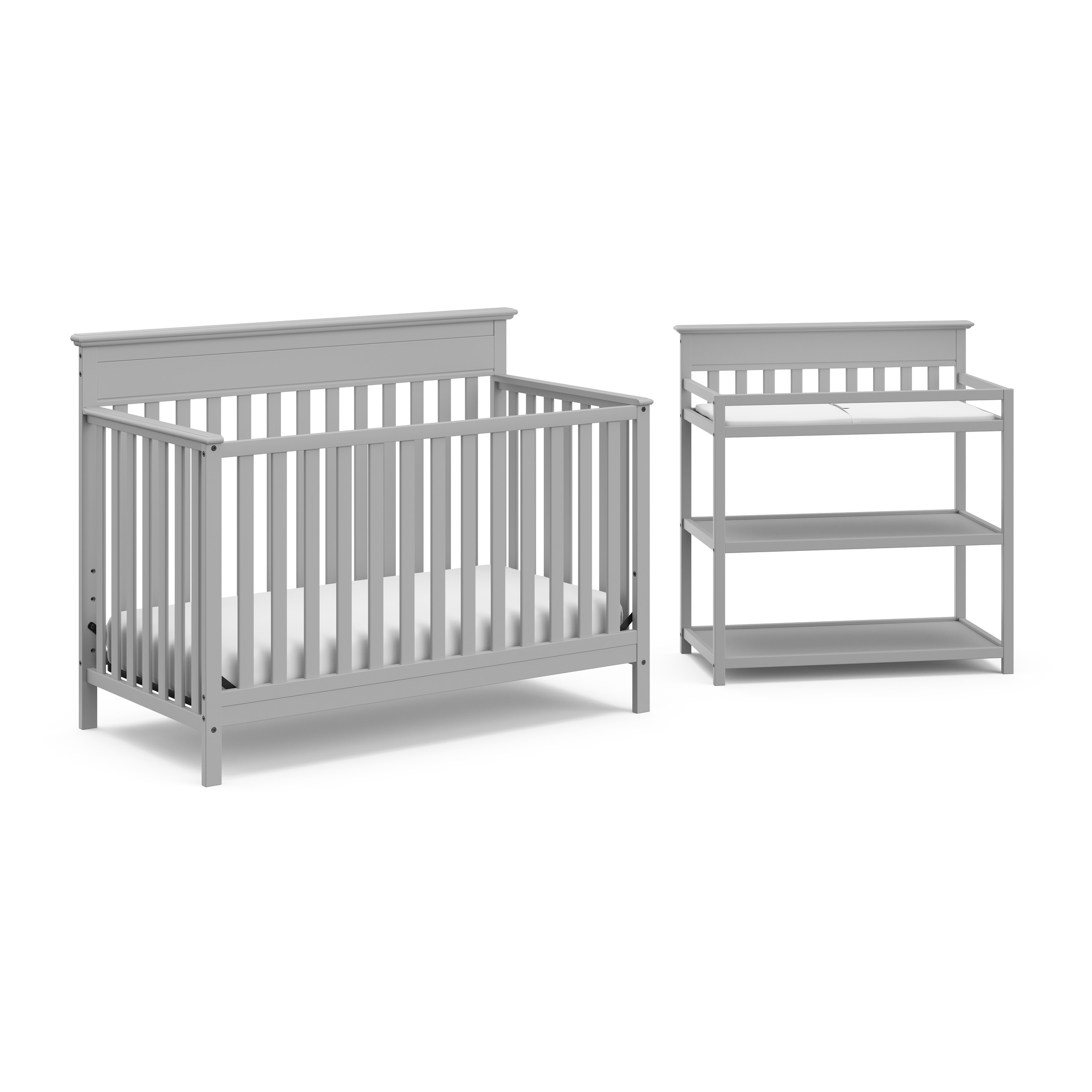 Crib And Change Table Nursery Set In A Box 4 In 1 Convertible Crib Changing Table With Water Resistant Change Pad On Sale Overstock 30077533