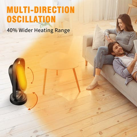 HC05 1500W Space Heater, Dual Oscillating, 2S Quick Heat Up, 8H Timer, Remote Control, Portable Heater Fan