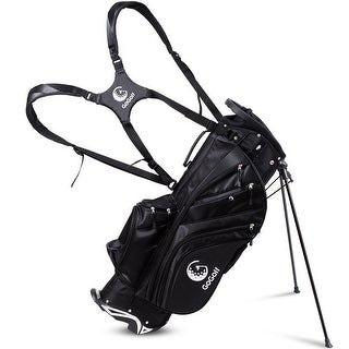 Hyper-Lite Golf Stand Cart Bag 6 Way Divider w/Shoulder Strap + Rain Cover Black - black + white