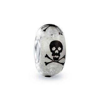 Bling Jewelry Glow in the Dark Black and white Skull and Crossbones Murano glass Charm Bead .925 Sterling Silver