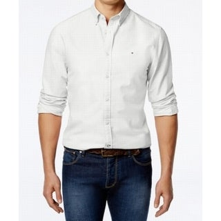 Tommy Hilfiger White Mens Size XL Button Down Custom Fit Shirt