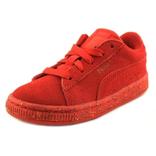 Puma Suede Classic Multi Splatter Toddler Round Toe Suede Red Sneakers