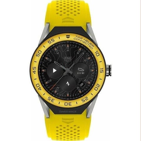 Tag Heuer Men's SBF8A8017.11FT6082 'Connected' Yellow Rubber Watch - Multi