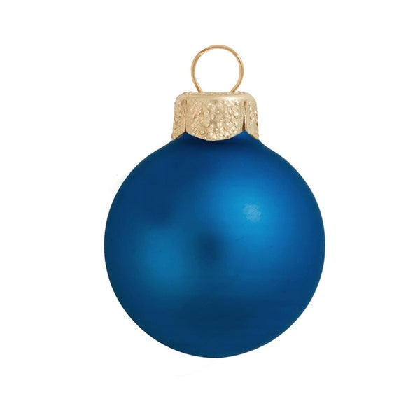 "28ct Matte Cobalt Blue Glass Christmas Ornaments 2"" (50mm)"
