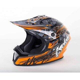 Cyclone ATV MX Motocross Dirt Bike Off-Road Helmet DOT/ECE Approved- Orange (3 options available)