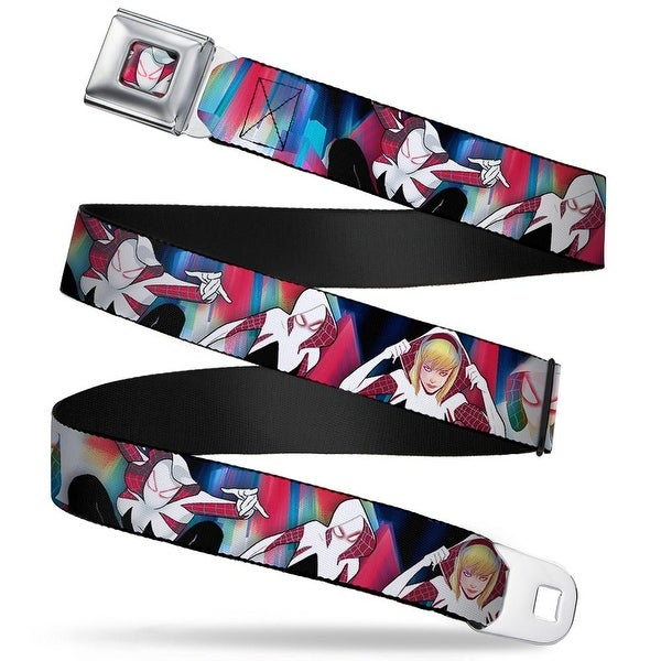Marvel Universe Spider Gwen Face Full Color Spider Gwen 4 Poses Blues Reds Seatbelt Belt