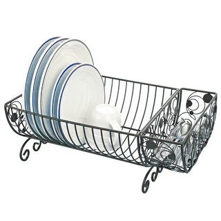Kitchen Details Country Kitchen Dish Rack With Cutlery Basket, , 18x10x8 Inches