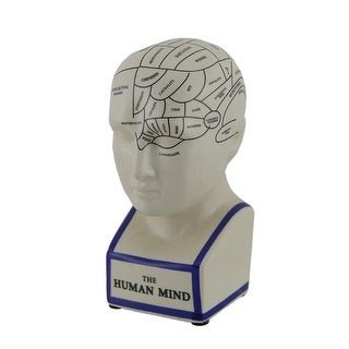 Museum White Ceramic Phrenology Head Coin Bank