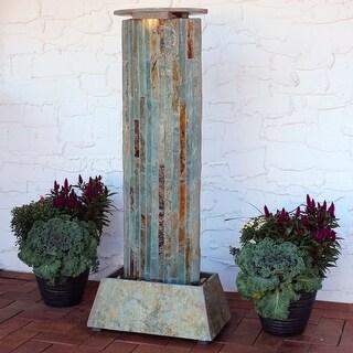 Sunnydaze Indoor-Outdoor Floor Water Fountain Tower - Natural Slate - 49-Inch