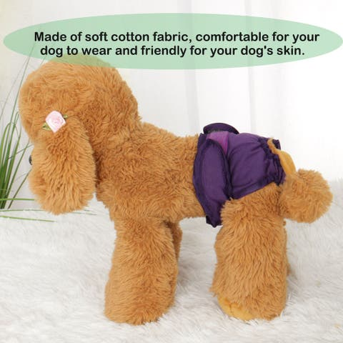 Female Dog Physical Pant Adjustable and Leak-resistant Doggie Physical Panties Washable Reusable Doggy Panties Purple XL