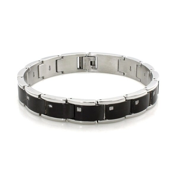 Two-Tone Stainless Steel Black Bracelet w/ Cubic Zirconia - 9 inches