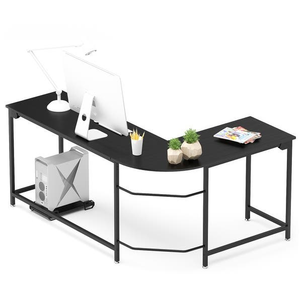 L Shaped Corner Desk Gaming Computer Desk Office Workstation Modern Wooden Home Study Writing Table Laptop Desk Black On Sale Overstock 32537441
