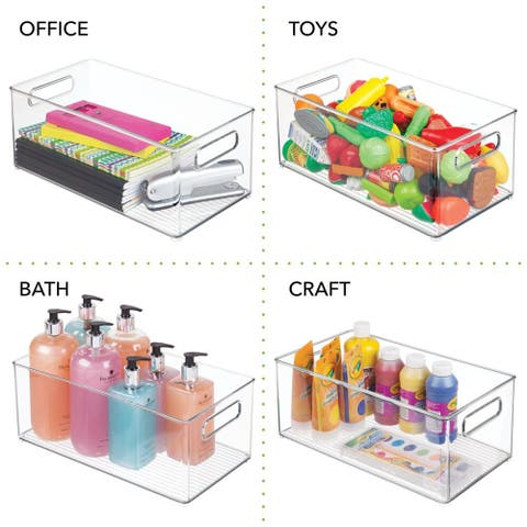 mDesign Plastic Kitchen Baby Food Storage Bin with Handle - 14.5 X 8