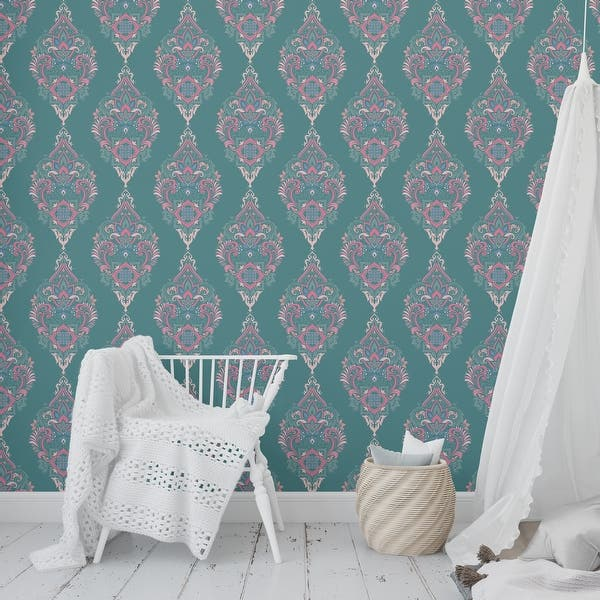 Shop Boho Damask Green Peel And Stick Wallpaper By Kavka Designs 2 X 16 Overstock 31638071