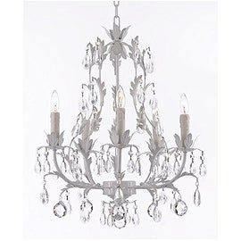 White Wrought Iron Floral Chandelier Lighting with Crystal Balls