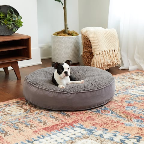Happy Hounds Scout Deluxe Gray Sherpa Round Dog Bed