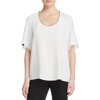 Lafayette 148 Womens Kalia Blouse Silk Open Shoulder