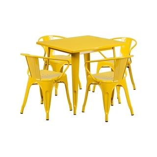 "Offex 31.5"" Square Yellow Metal Indoor Table Set with 4 Arm Chairs  [OF-ET-CT002-4-70-YL-GG]"