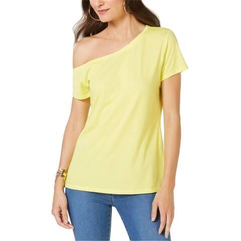 I-N-C Womens Off The Shoulder Basic T-Shirt