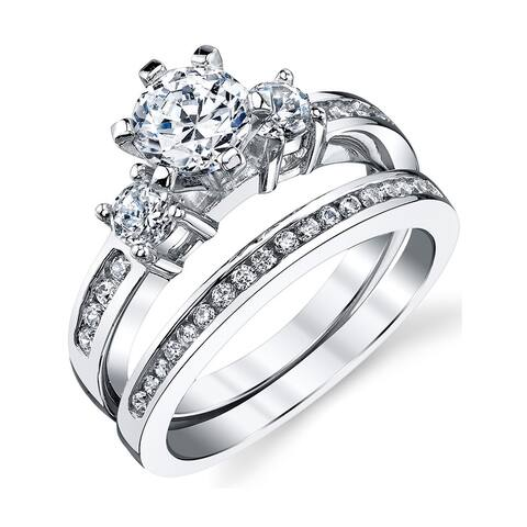 Oliveti Sterling Silver Round Cubic Zirconia Bridal-style Ring Set