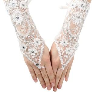 Girls White Rhinestone Floral Lace Fingerless Communion Flower Girl Gloves