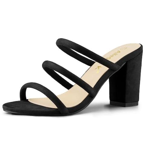 Women's Open Toe Block Heel Slide Mules Sandals