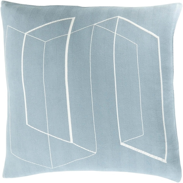 "18"" Blue and White Contemporary Decorative Indoor Square Throw Pillow"