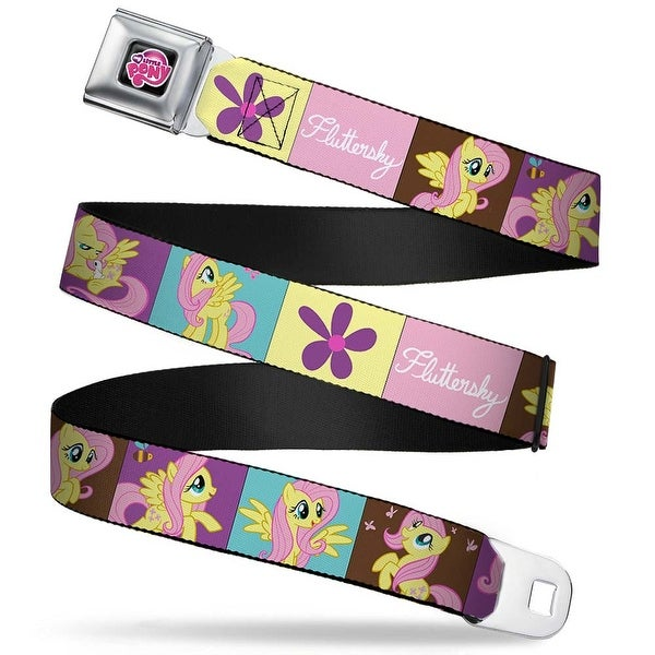 My Little Pony Logo Full Color Black Pink Fluttershy Blocks Webbing Seatbelt Belt