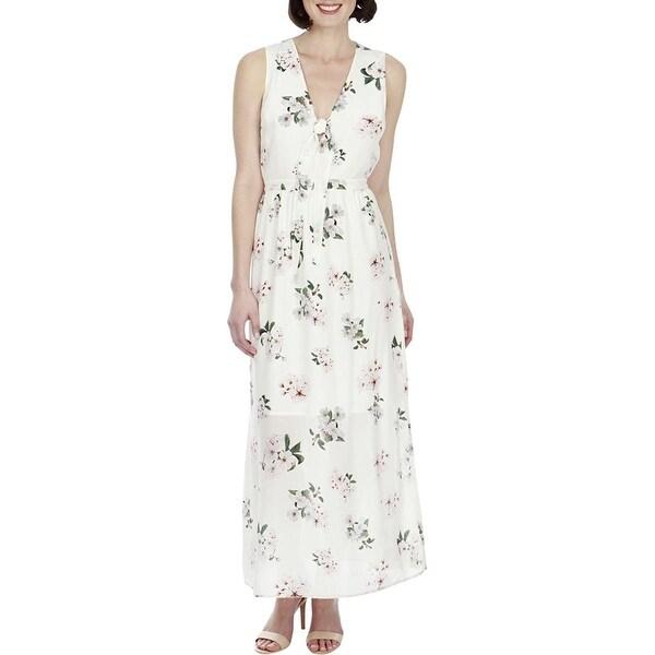 248a790ed4ae9 Lucky Brand Silk Floral Print Sleeveless Maxi Dress Natural Multi