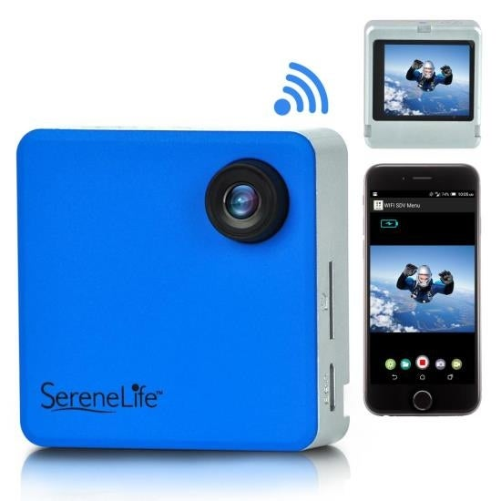 Full HD 1080p WiFi Pocket Cam, 2-in-1 Camera + Camcorder, Control via Smartphone (Blue)