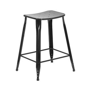Offex 24'' High Black Metal Indoor-Outdoor Counter Height Saddle Comfort Stool