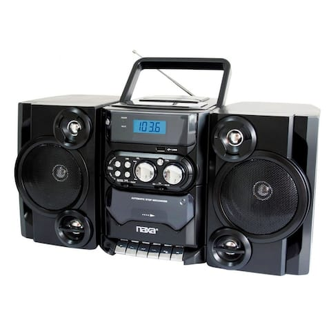 Portable MP3/CD/USB Player with Stereo Radio & Cassette Recorder (NPB-428-BLK)